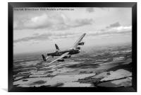 Lancaster PA474 over England B&W version, Framed Print