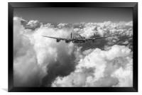 Avro Lancaster LM227 above clouds B&W version, Framed Print