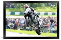 Josh Brookes - Take Off at Cadwell park 2011, Framed Print