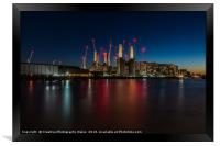 Battersea Power Station Night View on the Thames, , Framed Print