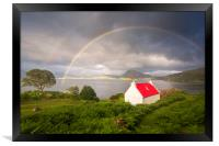 Applecross Red Roofed Cottage with Rainbows, Framed Print