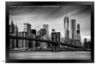 Brooklyn Bridge and trade centre, Framed Print