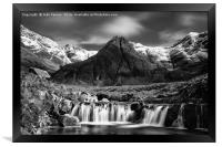 The Fairy Pools black and white , Framed Print