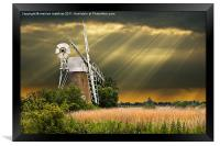 windmill with sunbeams, Framed Print