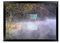 Misty Boathouse, Framed Print