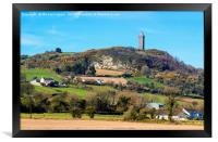 Scrabo Tower viewed from the south west on the Com, Framed Print