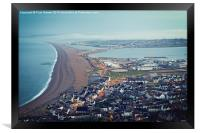Chesil Beach from Portland Heights at Sunrise, Framed Print