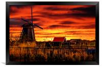 Sunrise beams over the dutch windmills, Framed Print