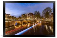 Amsterdam canal by night, Framed Print