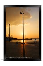 Lighting post shadow, Framed Print