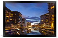 Clarence Dock at night, Framed Print