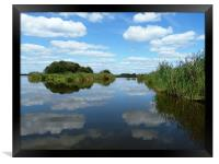 Clouds reflecting in the waters of the reed beds, Framed Print