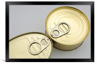 closeup of cans, Framed Print