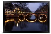Cycle Light Trails in Amsterdam, Framed Print