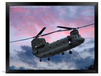 RAF Sikorksky Helicopter in the clouds, Framed Print