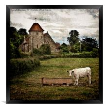 Church and Meadow at Aldworth, Framed Print