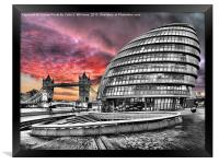 London Skyline - City Hall and Tower Bridge BW, Framed Print