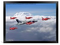 Final Vulcan flight with the red arrows 3, Framed Print