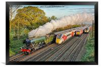 Flying Scotsman and the Four Trains, Framed Print