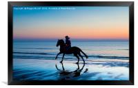 Silhouette of Horse and rider on Beach at sunset, Framed Print