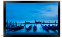Moving Gondolas  at Twilight, Venice., Framed Print