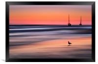Yachts  at Sunset Widemouth Bay, Cornwall, UK., Framed Print