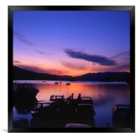 Boat Jetty  at sunset on  Windermere, Cumbria, UK, Framed Print