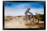 Dusty motocrosser, Framed Print