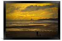 Early morning dog walker, Framed Print