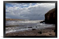 Storm clouds at the river mouth, Framed Print