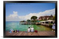 Relaxing in the afternoon sunshine on Lake Garda, , Framed Print