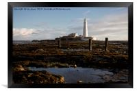 Blustery morning at St Mary's Island, Framed Print