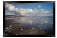 Sky reflections at Druridge Bay, Framed Print