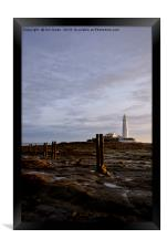 Early morning sunshine at St Mary's Island., Framed Print
