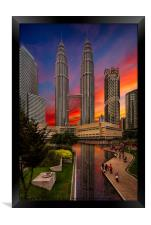 Petronas Towers Sunset, Framed Print