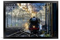 Flying Scotsman approaches Alexandra Palace on its, Framed Print