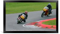 Racing bikes at Snetterton racetrack , Framed Print
