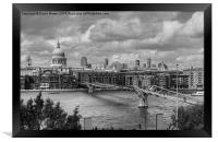 St Pauls Cathedral and Millennium Bridge, Framed Print