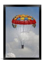 Ladies paragliders on cloud nine, Framed Print