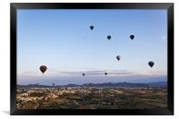 Cappadocia landscape filled with hot air balloons, Framed Print