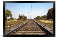 Indian Railroad track with overhead cables, Framed Print