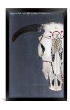 American Indian Painted Cow Skull, Framed Print