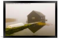 Boat house in mist, Framed Print