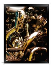 Motorcycle Engine and Chrome, Framed Print