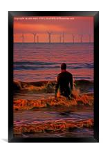 In the surf at Sunset, Framed Print