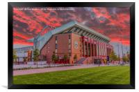 Red Sky Over Anfield, Framed Print