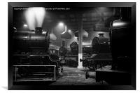 Morayshire smoking in the roundhouse., Framed Print