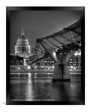 St Paul''s Cathedral and the Millenium Briddge, Framed Print