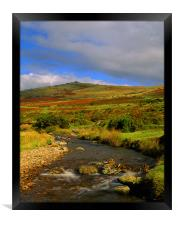 River Lyd Looking Towards Great Links Tor, Framed Print