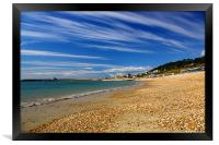 Lyme Regis Beach Looking Towards Harbour & Cobb, Framed Print